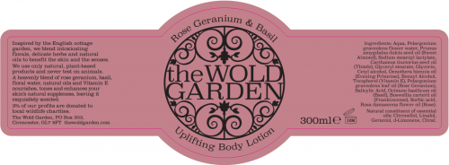 Label - Rose Geranium & Basil Body Lotion