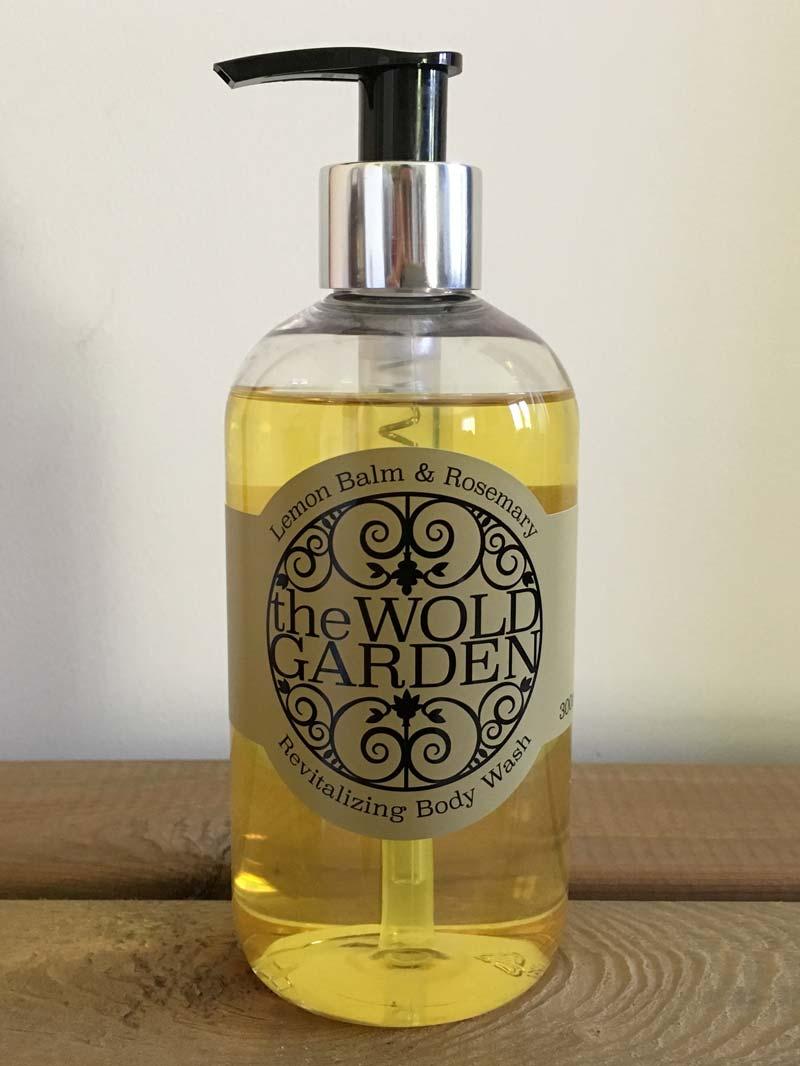 Bottle of Lemon balm and Rosemary body wash