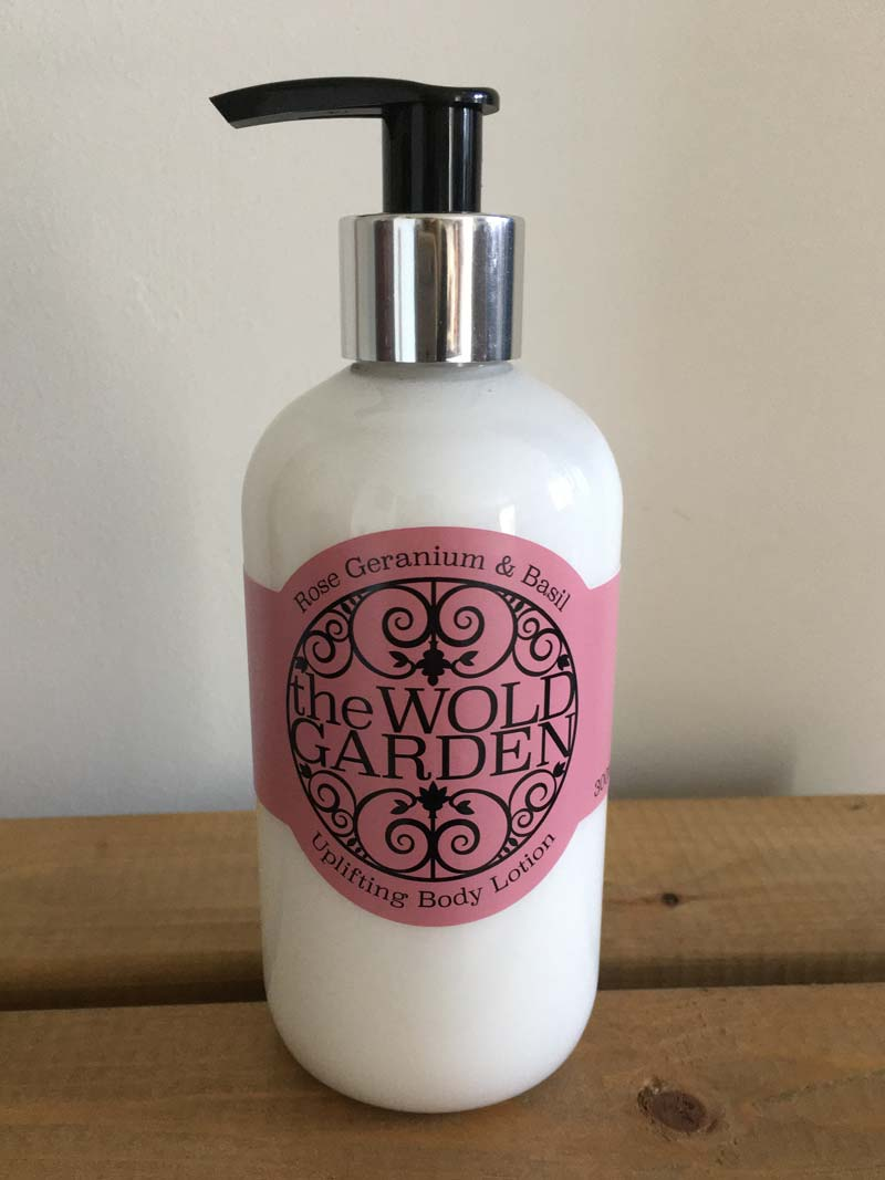 Bottle of Rose Geranium and Basil body lotion