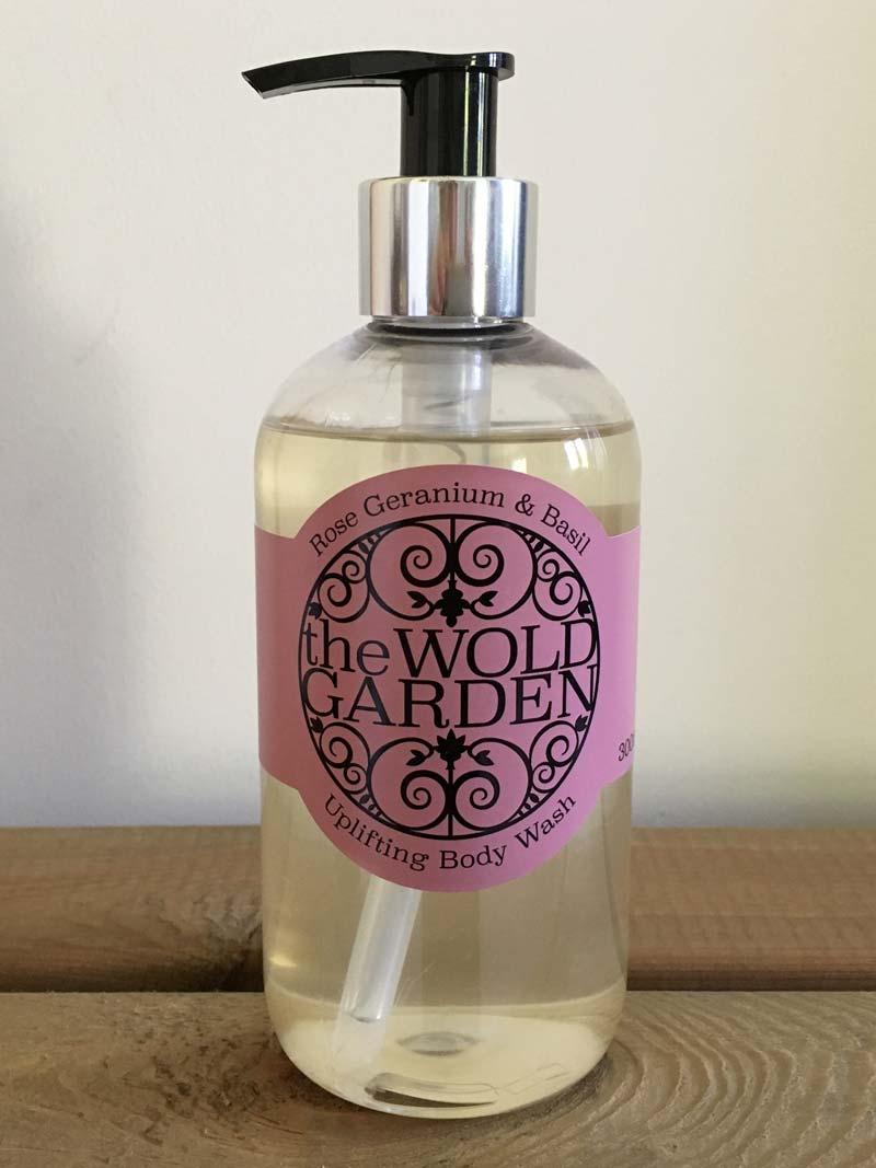 Bottle of Rose Geranium and Basil body wash