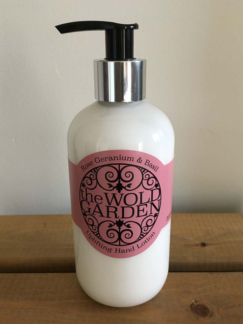 Bottle of Rose Geranium and Basil hand lotion